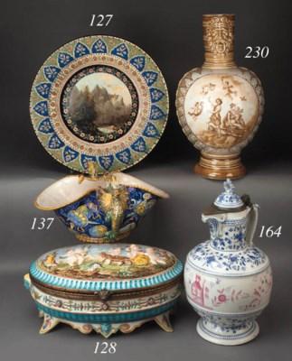 A French pottery gilt-metal-mo