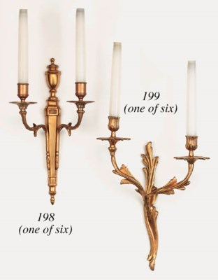 A set of six French gilt brass