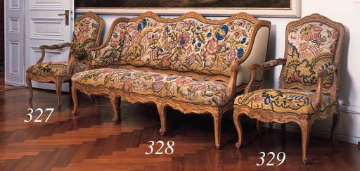 A pair of fauteuils, 19th cent