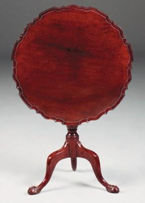 A mahogany tripod table, 18th