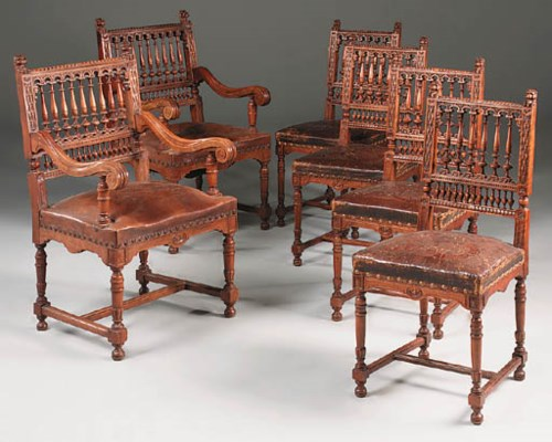 A set of ten leather-upholster