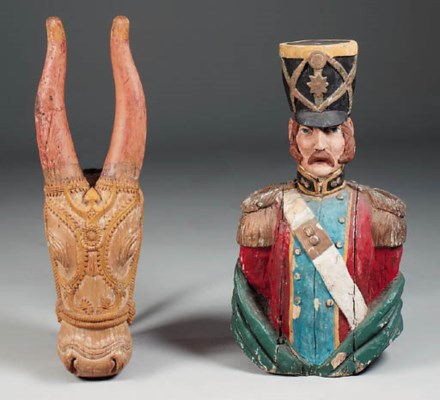 A carved and polychrome decora
