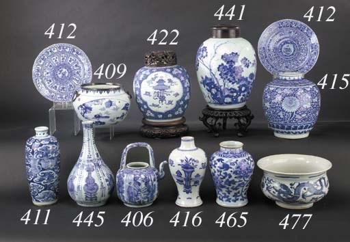 A Chinese blue and white globu