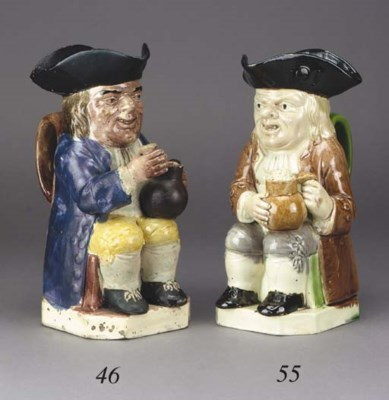 A pearlware toby jug