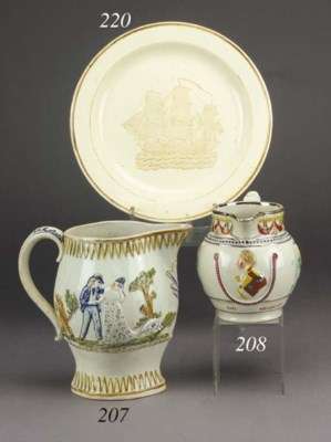 A pearlware commemorative ovif
