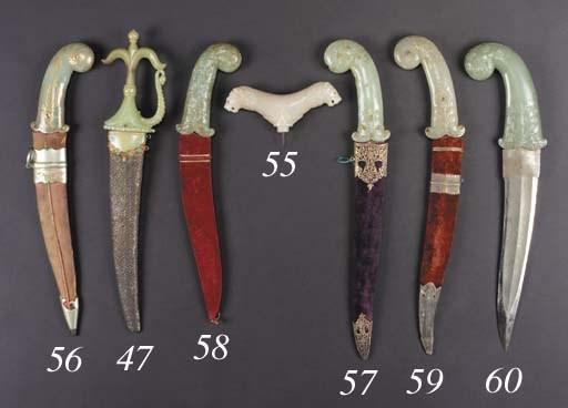 A Moghul jade crutch handle 18