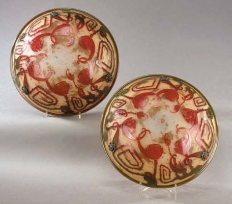 A PAIR OF CAMEO GLASS PLAFONNI