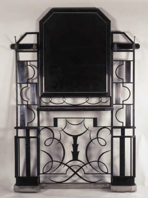 A WROUGHT IRON HALLSTAND