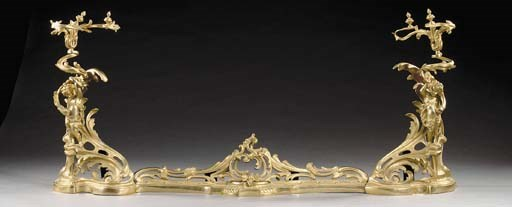 A French gilt bronze fender, l