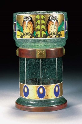 A Secessionist enamelled glass