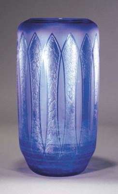 A Schneider blue glass vase