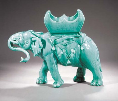 A large turquoise glazed ceram