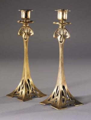 A pair of WMF Art Nouveau gilt