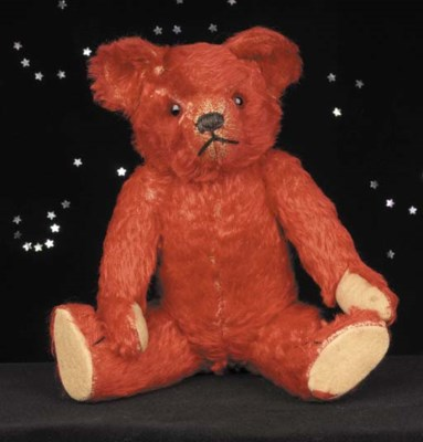 A rare red British teddy bear