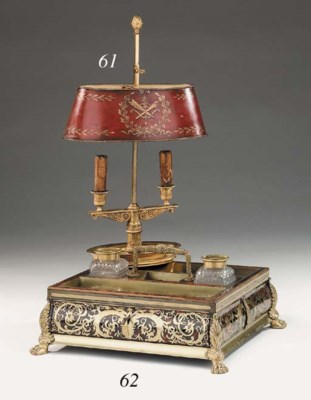 A Boulle style brass and torto