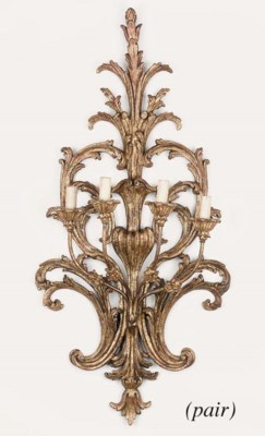 A pair of Italian carved and g
