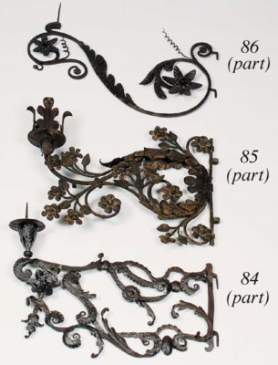 A pair of wrought-iron pricket