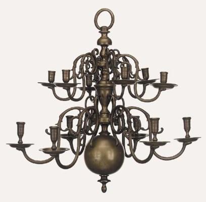 A Dutch bronze twelve light ch