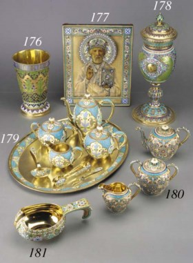 A silver-gilt cloisonné and champlevé icon of St Nicholas th