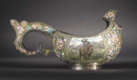 A large silver-gilt and cloisonné enamel Kovsh