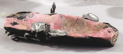 A silver-mounted rhodonite Dis
