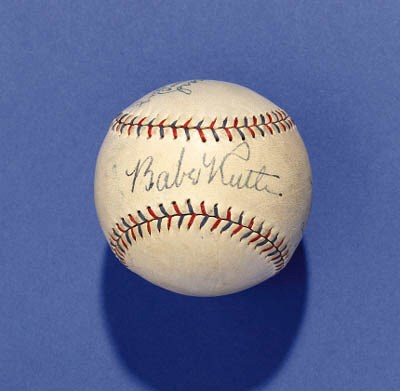 BASEBALL SIGNED BY RUTH, GEHRI