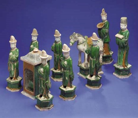 A GROUP OF GLAZED AND PAINTED