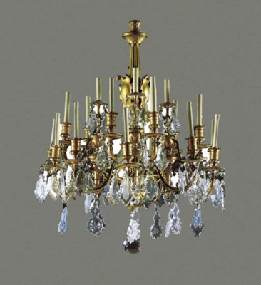 A FRENCH ORMOLU AND CUT GLASS
