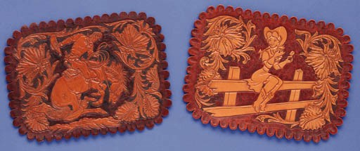 TWO HAND TOOLED RESTROOM SIGNS