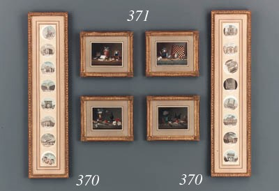 TWO FRAMED SETS OF EIGHT WATER