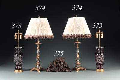 A PAIR OF GLASS AND ORMOLU LAM