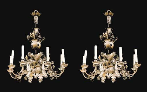A PAIR OF LOUIS XV STYLE TOLE-