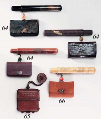 A Wood Pipecase and Tobacco Po