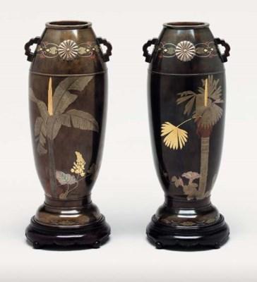 A Pair of Inlaid-Bronze Vases