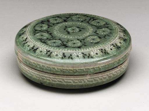 An Inlaid Celadon Cosmetic Box