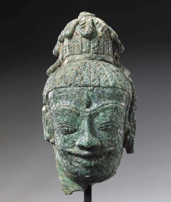 A Rare Bronze Head of Shiva