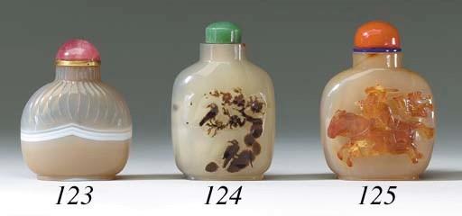 An Agate Purse-Form Bottle