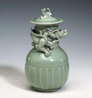 A Longquan Celadon Jar and Cov