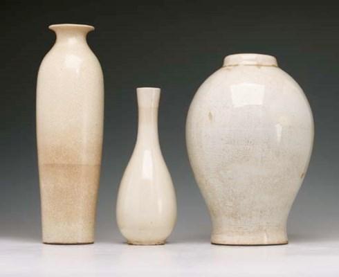 Three Cream-Glazed Vases
