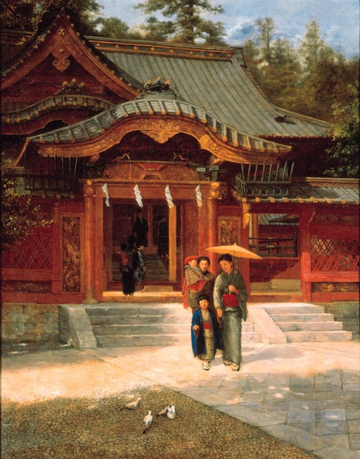 An example ofyogapaintingHarada Naojiro (1863-1899),Family at Toshogu Shrine. 29½ x 23⅜ in (75 x59.4 cm). Sold for $171,000 on 10 November 2000 at Christie's in New York