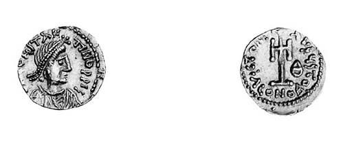 Tremissis, Ravenna, diademed,