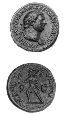 Sestertius, laureate and drape