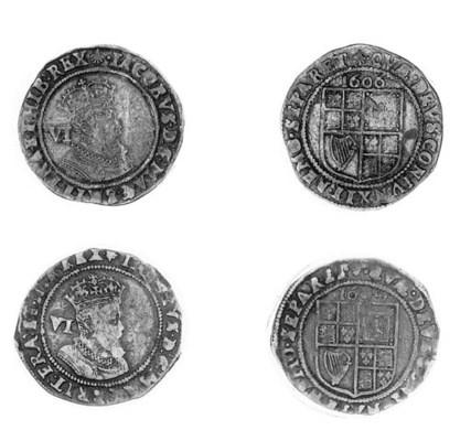 James I, Sixpences (2), 1606,