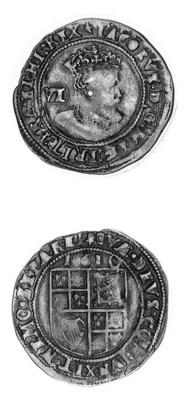 James I, Sixpence, 1610, m.m.