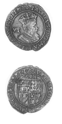 James I, Sixpence, 1614, m.m.
