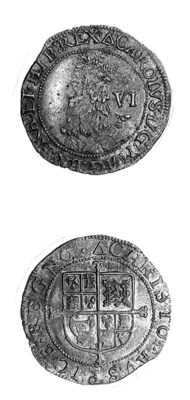Charles I, Tower, Sixpence, gr