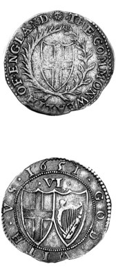 Commonwealth, Sixpence, 1651,