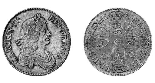 Charles II, Crown, 1671, simil
