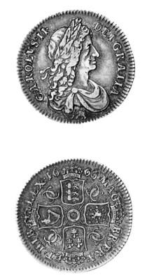 Charles II, Shilling, 1666, el