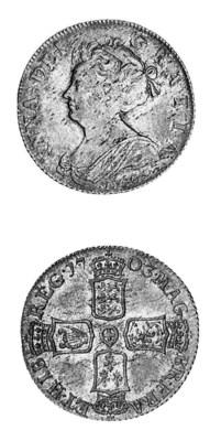 Anne, Shilling, 1703 VIGO, sec